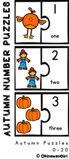 Autumn themed number puzzle set (0-20) focusing on developing students accuracy when counting as well as cooperative learning skills.  Includes suggested activities.  $: