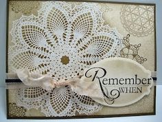 """Stamps: Hello Doily, Delicate Doilies    Paper: White, Soft Suede, Very Vanilla    Ink: Soft Suede, Early Espresso    Accessories: Seam Binding Ribbon, 1/8"""" Taffeta ribbon, Nestabilities Die"""