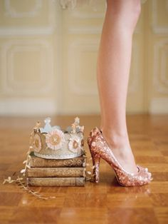 glitter shoes and princess crowns #shoes #crown