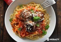 Spagetti paradicsomos húsgombóccal