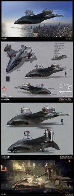 Deus Ex Mankind Divided Spaceship Art, Spaceship Design, Spaceship Concept, Concept Ships, Armor Concept, Concept Art, Flying Vehicles, Stargate, Sci Fi Ships