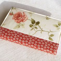 Fabric Journal - Red Rose  Handmade Fabric Covered Notebook - by PatchworkMill, $16.00