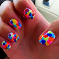 Bright Ideas for summer! Just add whatever dots you want on top of a white polish base!