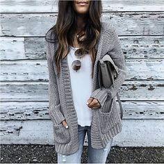 LightInTheBox - Παγκόσμιες Online Αγορές για Φορέματα, Σπίτι & Κήπος, Ηλεκτρονικά Προϊόντα, Ένδυση Γάμου Pullover Outfit, Cardigan Outfits, Cardigan Fashion, Cardigan Sweaters, Fall Cardigan, Sweaters And Jeans, Cotton Cardigan, Grey Cardigan, Crochet Cardigan