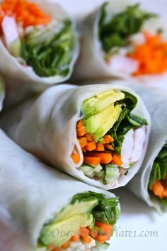 :: Veggie rolls with dipping sauce :: Healthy food