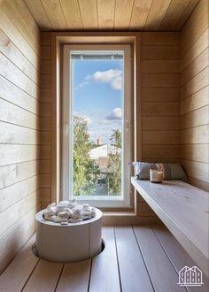 Sauna Design, Finnish Sauna, Lets Stay Home, Spa Rooms, Saunas, Windows, Bathroom, Interior, Places