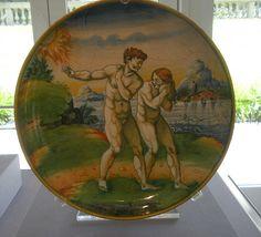 Adam and Eve plate, maiolica, 16th C, Urbino #TuscanyAgriturismoGiratola