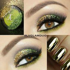 gold and green makeup
