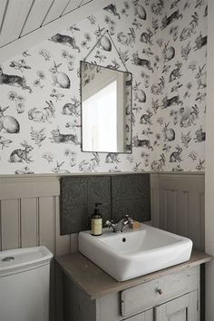 """magicalhome: """"Old farmhouse bathroom with new fixtures and bunny wallpaper. Craftsman Bathroom, Rustic Bathrooms, Small Bathroom, Bad Inspiration, Bathroom Inspiration, Apartment Interior, Bathroom Interior, Downstairs Toilet, Small Toilet"""
