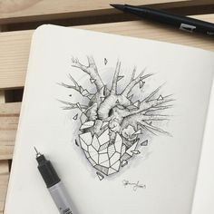 Creative artist Kerby Rosanes, an illustrator based in Manila, Philippines. Kerby Rosanes uses ink primarily in their drawings. For more drawings →View Website Geometric Drawing, Geometric Art, Geometric Heart Tattoo, Ink Pen Drawings, Doodle Drawings, Pen Sketch, Art Sketches, Plant Drawing, Anatomy Art