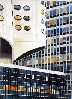 Amy Park - Three Chicago Buildings, 2011, watercolor on paper, 30 x 22 inches