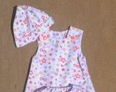 Daisy hearts outfit of dress, pantaloons, soft shoes and hat