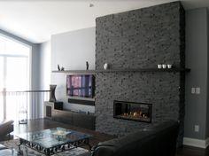 11 Stone Veneer Fireplace Surround Design Trends & Where To Buy - Annika DIY Stone Veneer Fireplace, Brick Fireplace Makeover, Home Fireplace, Fireplace Remodel, Fireplace Surrounds, Fireplace Design, Fireplace Ideas, Fireplaces, Property Brothers Designs