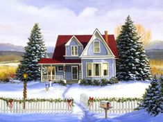 'Christmas Red Roof House' by Linda Picken
