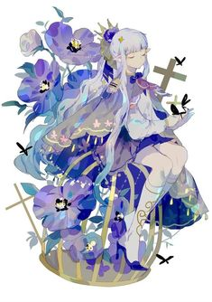 e-shuushuu kawaii and moe anime image board Kawaii Anime Girl, Anime Art Girl, Manga Art, Fantasy Kunst, Fantasy Art, Pretty Art, Cute Art, Anime Flower, Illustration Art