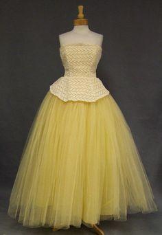 Lemon Tulle & Cream Lace Strapless Vintage Prom Dress