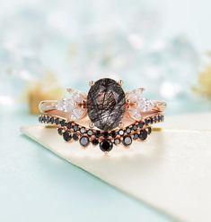 Quartz Engagement Ring, Dream Engagement Rings, Black Diamond Wedding Sets, Rutilated Quartz Ring, Promise Rings For Her, Pretty Rings, Love Ring, Wedding Rings, Wedding Shit