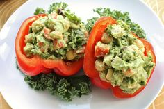 Red Peppers Stuffed with Confetti Guacamole. A Super Bowl Sunday Dish