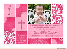 1st birthday and christeningbaptism invitation sample baptism free first birthday and baptism invitations download this invitation for free at https stopboris Gallery