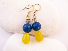 Gold Plated Earrings, Blue Yellow Earrings, Natural Stone Jade, Round Faceted Agate, Teardrop Earrings, Statement Jewelry, Czech Glass,Gift by RubiesAndBees on Etsy