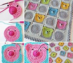 How adorable are these crochet Teddy Bear Granny Square blanket !  Check free pattern--> http://wonderfuldiy.com/wonderful-diy-adorable-crochet-teddy-bear/