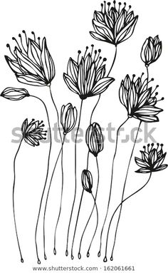 Doodle Drawings, Easy Drawings, Drawing Sketches, Flower Line Drawings, Botanical Line Drawing, Fabric Painting, Painting & Drawing, Doodle Art Journals, Plant Drawing