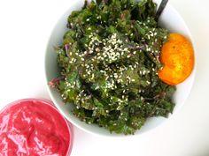 culinary karma | raspberry kale salad + turmeric egg