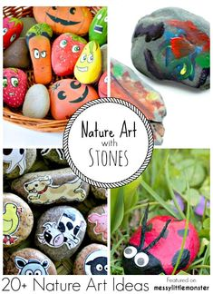 Summer Nature Art and Craft Ideas for kids using stones and pebbles. 20 fun outdoor activity ideas using nature for toddlers preschoolers and older kids to enjoy. Fun Outdoor Activities, Easy Crafts For Kids, Craft Activities For Kids, Summer Crafts, Toddler Crafts, Activity Ideas, Classroom Activities, Summer Fun, Cool Art Projects