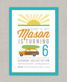 Surf Birthday Party Invitation. $15.00, via Etsy.