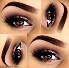 Perfectly shaped eyebrows and soft smokey eyes for brown eyes.