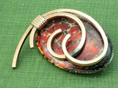 Red MATISSE Enameled Copper Pin Pendant Vintage Renoir