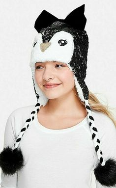 e6f094b60895af NWT Justice Girls Set of TWO Penquin Beanie Earflap Hat & Fingerless  Gloves #Justice