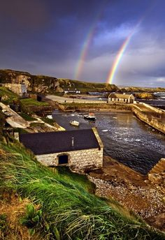 Ballintoy Harbor, Northern Ireland - Beautiful double rainbow