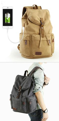 Retro Flap Camping Travel Canvas Backpack Large Capacity School Rucksack  With USB Interface e7e6676bf7d6d