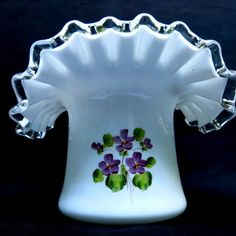 Fenton Silver Crest  Violets in the Snow Large Top Hat offered by Ruby Lane Shop, Yesterdays. #Fenton