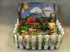 VENTA!!!! Jardín de primavera naturaleza alterada caja de sombra miniatura lata recuerdo baratija decoración