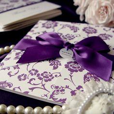Gatefold Purple Wedding Invitation Card (Qty 25) - custom made £110.00