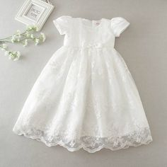gelvs Baby Girl Christening Dress Delicate Long Robe Gown for First Communion Formal Party Baby Girl Christening Gowns, Girls Baptism Dress, Baby Girl Baptism, Baptism Gown, Baby Girls, Toddler Baptism Dresses, Baby Girl White Dress, Baby Girl Dresses, Girl Outfits