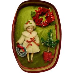Original Bisque Head Doll in Christmas Presentation Box Wonderful Condition