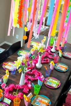 The Pugmires: Hadleigh's 11th Birthday Party! - different colored neon place settings