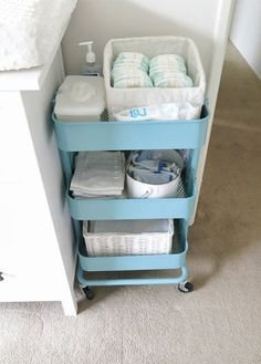 omg never thought of this cart for diapers and such            How To Use the $50 IKEA RÅSKOG Cart in Every Room of the House | Apartment Therapy
