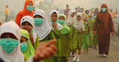 Muçulmanas usam máscaras neste domingo (23), na província indonésia de Riau, contra fumaça de incêndios provocados pela queima ilegal de florestas e de outros terrenos na região. A Malásia (país vizinho), declarou estado de emergência em duas regiões ao sul do Estado de Johor, onde a poluição do ar alcançou níveis considerados perigosos- 23 de junho de 2013 - Fotos - UOL Notícias