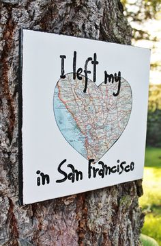 """READY TO SHIP!!   12x12 canvas - """" I left my heart in San Francisco"""" vintage National Geo map.  Created, hand stamped and painted by Houseof3"""