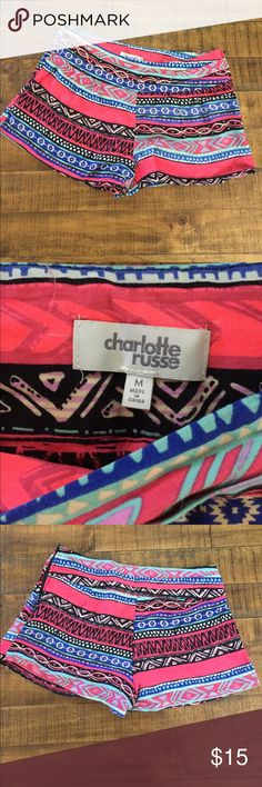 Aztec Multicolor Charlotte Russe Shorts. Side zip Charlotte Russe, Aztec pattern, side zip. Lightweight and comfortable. Adorable shorts. Worn only twice. Great condition. Size Medium. Can dress up or dress down. Charlotte Russe Shorts