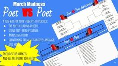 This March Madness inspired poetry packet includes 16 poems by 16 different poets in flip book form so students can match up different poems, analyze and rate them, and decide which poet advances to the next round.  Everything you need to implement a fun poetry March madness theme is here: -Student Guide-16 flip book style poems- Rubric rating system for students- Short answer practice questions based on poetry match ups- Teacher rubric for short answer grading- Theme, mood, and figurative…
