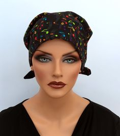 Sandra Pre-Tied Scarf - Music Loves - A Women's Surgical Scrub Cap, Cancer, Chemo, Alopecia, Hat, Head Cover Fitted Scarf for women.
