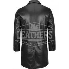 3/4 Length Black Leather Coat
