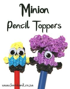 Minion Loom band Pencil topper tutorial - Loomband