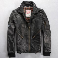 Find More Leather & Suede Information about Free Shipping 2015 New Men Leather Jacket Black Vintage 100% Genuine Scrub Cow Skin Leather Men Winter  Motorcycle Jacket,High Quality jacket fox,China jacket waterproof Suppliers, Cheap jacket sailing from ShowGirl Fashion on Aliexpress.com