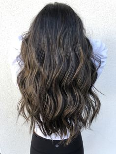 dark hair with ash balayage